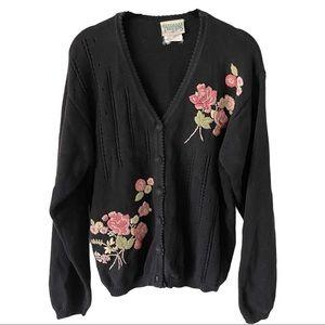 Vintage Northern Traditions Black Knit Cardigan L